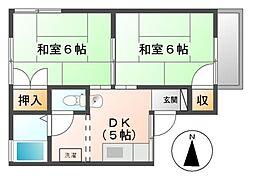 エクセル小松[2階]の間取り