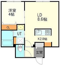 JR函館本線 厚別駅 徒歩1分の賃貸マンション 2階1LDKの間取り