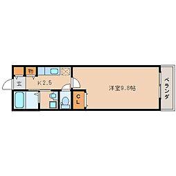 近鉄奈良線 生駒駅 徒歩9分の賃貸アパート 2階1Kの間取り