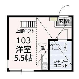 JR京浜東北・根岸線 洋光台駅 徒歩14分の賃貸アパート 1階ワンルームの間取り