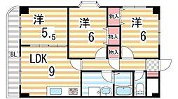 ラプラス住道[6階]の間取り