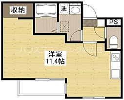 広島電鉄宮島線 草津駅 徒歩6分の賃貸アパート 3階ワンルームの間取り