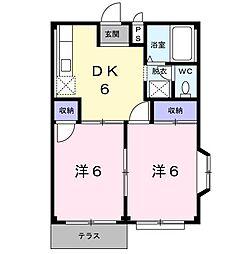 茨城県龍ケ崎市平台1丁目の賃貸アパートの間取り