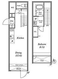 東京メトロ有楽町線 江戸川橋駅 徒歩5分の賃貸マンション 4階1LDKの間取り