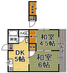 福岡県福岡市博多区吉塚2の賃貸アパートの間取り