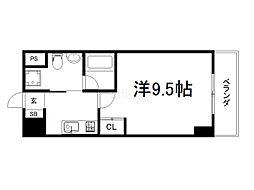 ティアラ京桃山 7階1Kの間取り