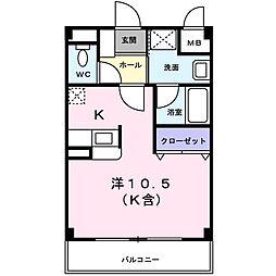 カーバリーハウス[0202号室]の間取り