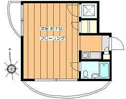 東京メトロ南北線 白金台駅 徒歩9分の賃貸マンション 2階1Kの間取り