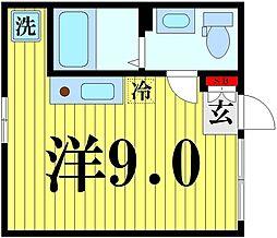 東京メトロ半蔵門線 押上駅 徒歩10分の賃貸マンション 1階ワンルームの間取り