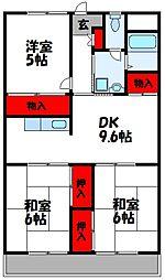 福岡県古賀市花見東4丁目の賃貸マンションの間取り