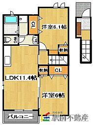 グランツ・ハウスI 2階2LDKの間取り