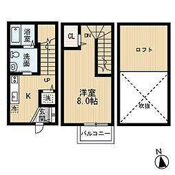 西鉄貝塚線 和白駅 徒歩3分の賃貸アパート 1階1Kの間取り