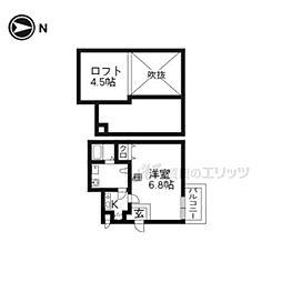 京阪本線 藤森駅 徒歩7分の賃貸アパート 2階1Kの間取り