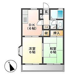 神奈川県川崎市多摩区長尾5丁目の賃貸アパートの間取り