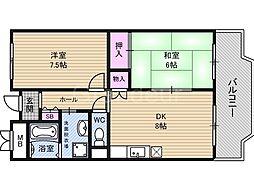 アーバン北田[6階]の間取り
