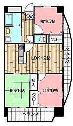 サンシティ小倉東[601号室]の間取り