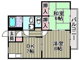 泉北高速鉄道 深井駅 徒歩12分の賃貸アパート 2階2DKの間取り