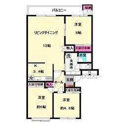 中野島第2住宅[407号室]の間取り