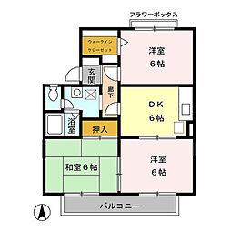 千葉県市原市ちはら台南2丁目の賃貸アパートの間取り