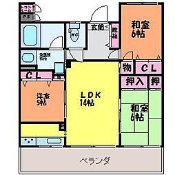愛媛県松山市岩崎町1丁目の賃貸マンションの間取り