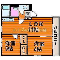 岡山県岡山市東区松新町の賃貸アパートの間取り