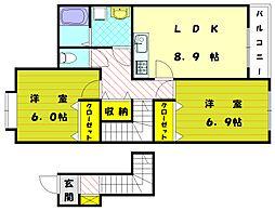 ピアコート津屋崎[2階]の間取り