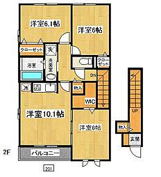 神奈川県大和市草柳3丁目の賃貸アパートの間取り
