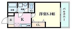 広島電鉄5系統 南区役所前駅 徒歩18分の賃貸アパート 2階1Kの間取り