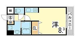 神戸市西神・山手線 伊川谷駅 徒歩3分の賃貸マンション 2階1Kの間取り