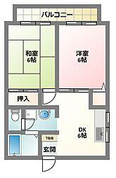 大阪府四條畷市清滝中町の賃貸アパートの間取り