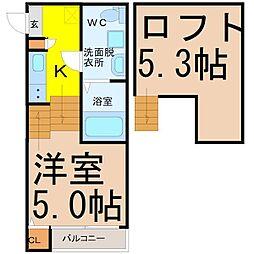 愛知県名古屋市中村区北畑町3丁目の賃貸アパートの間取り