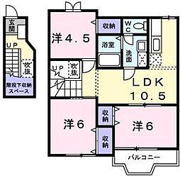 リーブラA 2階3LDKの間取り