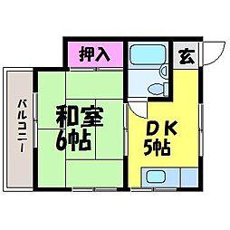 愛媛県松山市衣山4丁目の賃貸アパートの間取り