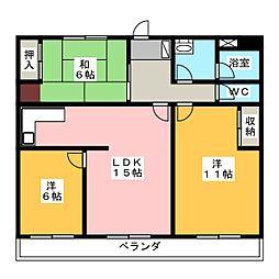 三旺マンション第2一社[1階]の間取り