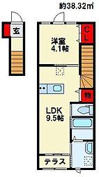 フルール吉田西[203号室]の間取り