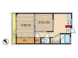 東京都大田区南六郷1丁目の賃貸マンションの間取り