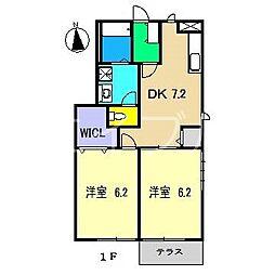 リバージュハイツII[1階]の間取り