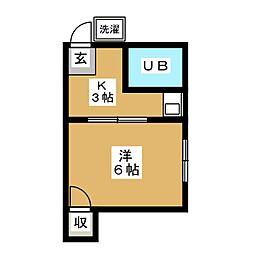 JR山手線 目黒駅 徒歩6分の賃貸アパート 2階1Kの間取り