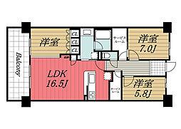 千葉県印西市戸神台2丁目の賃貸マンションの間取り