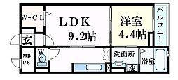 JR東海道・山陽本線 摂津本山駅 徒歩12分の賃貸マンション 1階1LDKの間取り