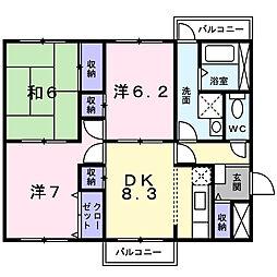 大阪府河内長野市中片添町の賃貸マンションの間取り