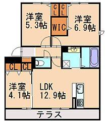 (仮)D-room阿恵II[1階]の間取り
