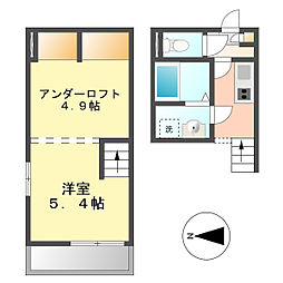 愛知県名古屋市中村区亀島1丁目の賃貸アパートの間取り
