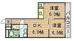 コーポラス小阪[404号室]の間取り