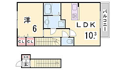 阪神本線 岩屋駅 徒歩5分の賃貸アパート 2階1LDKの間取り