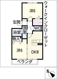フローラルパークスA[2階]の間取り