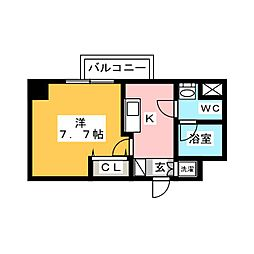 AZEST梅島 5階1Kの間取り
