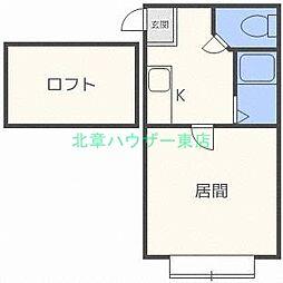 北海道札幌市東区北三十六条東2丁目の賃貸アパートの間取り