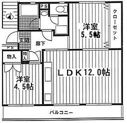東京都八王子市松が谷の賃貸マンションの間取り