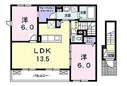 JR山陽本線 備後赤坂駅 4kmの賃貸アパート 2階2LDKの間取り